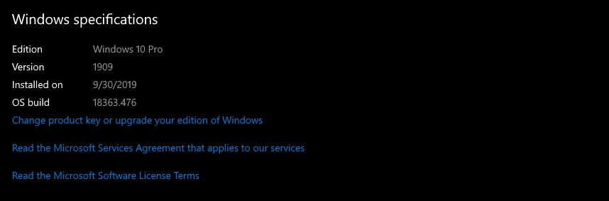 Windows 10 1909